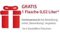 Gratis: 1 Flasche 0,02 Liter