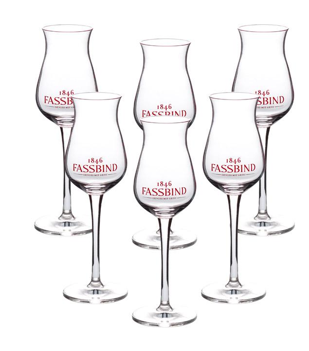 Fassbind Kelch-Glas 6 Stück - Degustationsglas / Schnaps-Glas Eichstrich 4 cl