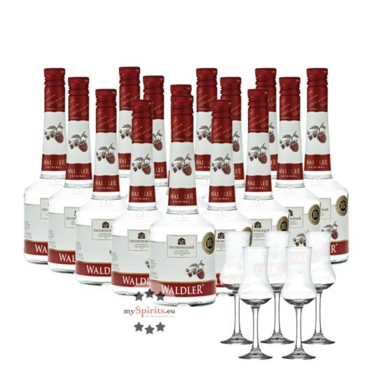 15 x Unterthurner Waldler Original im Sparpaket / 39 % vol. / 15 x 0,7 L Flasche + 5 x Schnapskelch