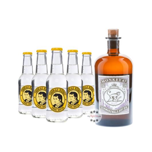 Monkey 47 Dry Gin (47% Vol., 0,5 L) & 5 x Thomas Henry Tonic Water (0,2 L) inkl. 0,75 € Pfand
