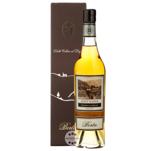 Distillerie Berta Sant'Anna - Grappa di Merlot Invecchiata / 40 % vol. / 0,5 Liter-Flasche im Karton