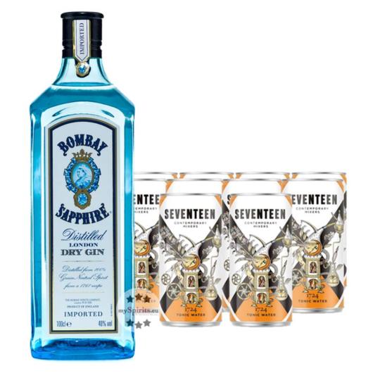 Bombay Sapphire London Dry Gin (40% Vol., 1,0 L) & 10 x 1724 Tonic Water (0,2 L) inkl. 2,50 € Pfand