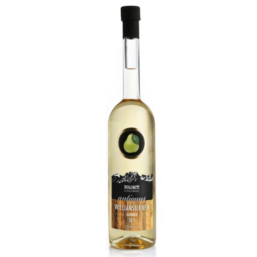 Dolomiti Antiquus Williams-Birnen-Schnaps Barrique / 36 % Vol. / 0,7 Liter-Flasche