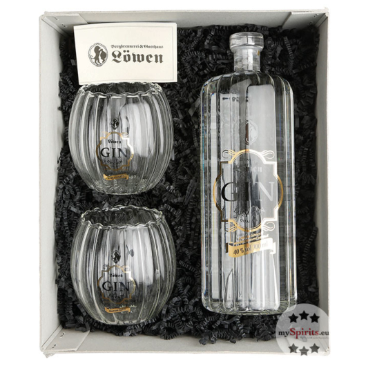 Bergbrennerei Löwen Geschenk-Set Gin Genuss 2er / 40 % Vol. / 0,7 Liter-Flasche
