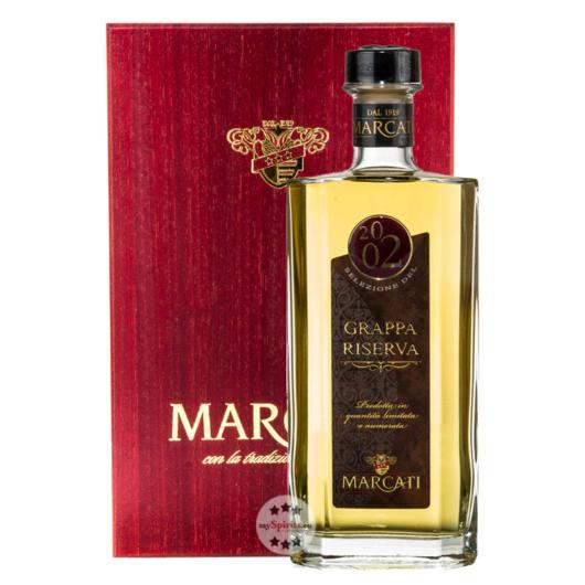 Marcati Grappa Riserva Jahrgang 2002 / 40 % Vol. / 0,5 Liter-Flasche in Holzkiste