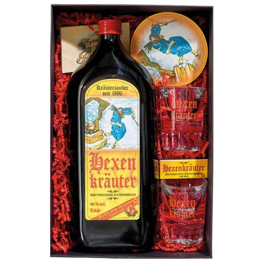 Prinz Geschenk-Set Hexentanz mit Hexenkräuter-Likör / 48 % Vol. / 1,0 Liter-Flasche & Zubehör in Box
