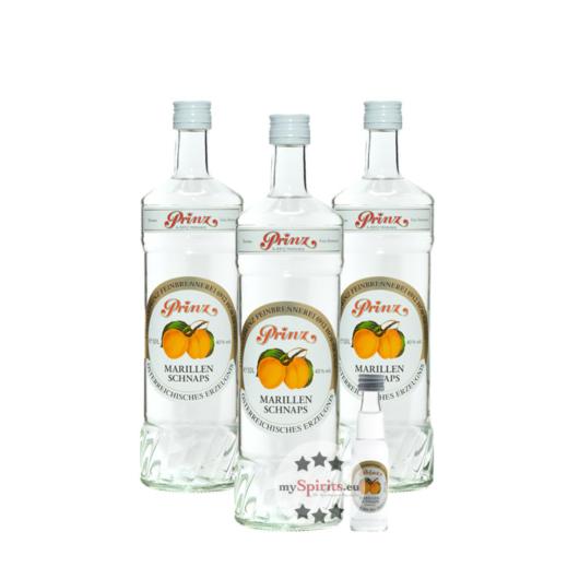 3 x Prinz: Marillen-Schnaps / 40 % Vol. / 3 x 1,0 Liter + gratis 0,02 Liter Marillen-Schnaps Miniatur