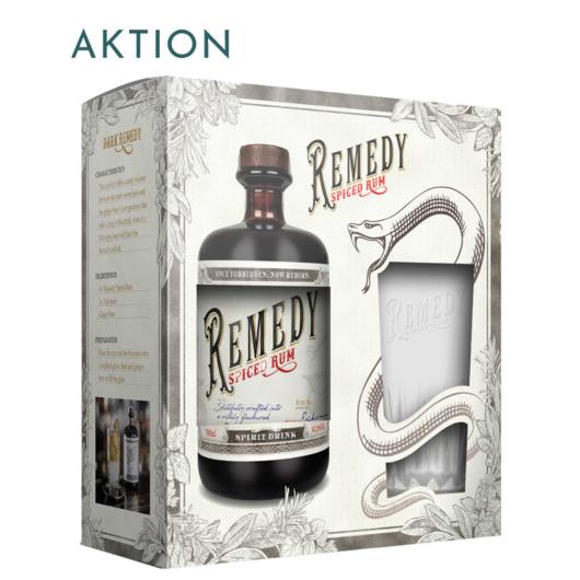 Remedy Spiced (Rum Basis) Spirit Drink / 41,5 % Vol. / 0,7 Liter-Flasche AKTION Onpack mit Glas