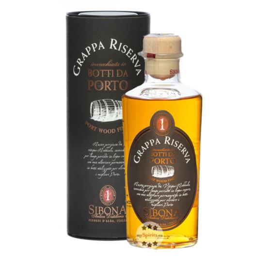 Sibona Grappa Riserva Botti da Porto / 40 % Vol. / 0,5 Liter-Flasche in Geschenkdose
