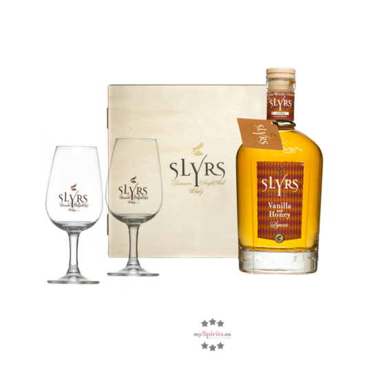 Slyrs Whisky: Geschenkbox Otakir mit 0,7 l Whisky-Likör Vanilla & Honey und 2 Slyrs Gläsern / 30 % vol. / 0,7 Liter-Flasche in Holzkiste