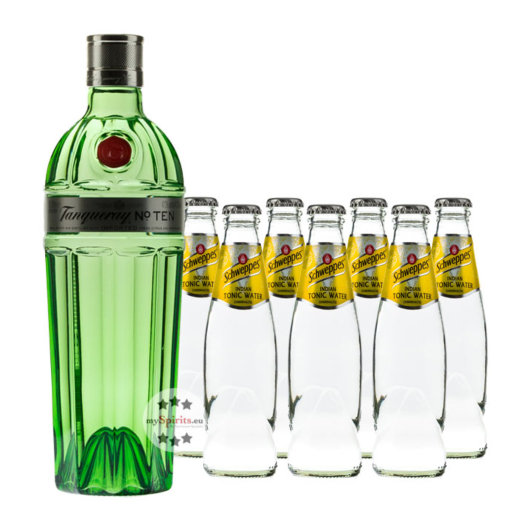 Tanqueray No. 10 Gin (47,3% Vol., 0,7 L) & 7 x Schweppes Indian Tonic (0,2 L) inkl. 0,70 € Pfand