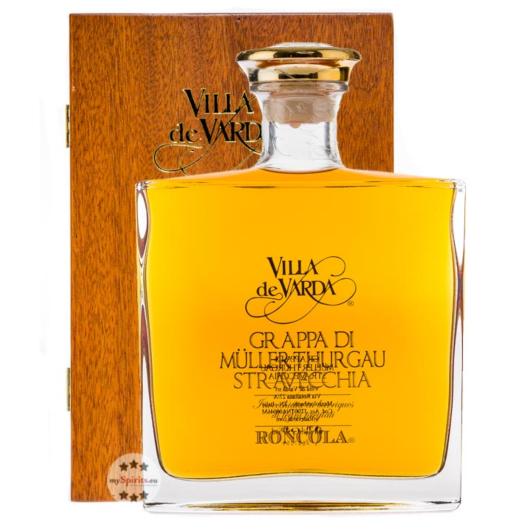 Villa de Varda Grappa Müller Thurgau Stravecchia-Roncola / 40 % Vol. / 0,7 L Flasche in Holzkästchen