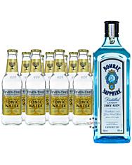 Bombay Sapphire London Dry Gin (40% Vol., 1,0 L) & 11 x Fever-Tree Tonic (0,2 L) inkl. 1,65 € Pfand