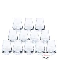 12 x mySpirits Schnapsglas mit mySpirits-Druck + 4 cl Eichstrich / Fassungsvermögen: 12 cl, Höhe: 8 cm