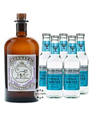 Monkey 47 Gin (47 % Vol. / 0,5 Liter) + 5 x Fever-Tree Mediterranean Tonic (0,2 L) inkl. 0,75 € Pfand