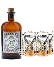 Gin Tonic Set: Monkey 47 Gin (47 % Vol. / 0,5 Liter) + 5 x 1724 Tonic Water (0,2 Liter) inkl. 1,25 € Pfand