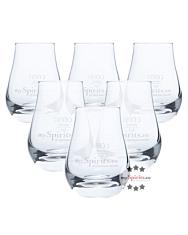 6 x mySpirits Schnapsglas mit mySpirits-Druck + 4cl Eichstrich / Fassungsvermögen: 12 cl, Höhe: 8 cm