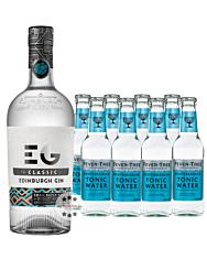 Edinburgh Gin (43 % Vol. / 0,7 L) + 8 x Fever-Tree Mediterranean Tonic Water (0,2 L) inkl. 1,20 € Pfand