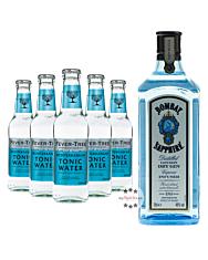 Bombay Sapphire London Dry Gin (40% Vol., 1,0 L) & 5 x Fever-Tree Mediterranean Tonic Water (0,2 L) inkl. 0,75 € Pfand