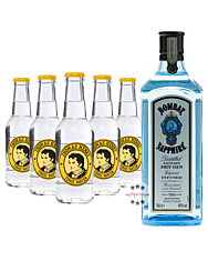 Bombay Sapphire London Dry Gin (40% Vol., 1,0 L) & 5 x Thomas Henry Tonic Water (0,2 L)