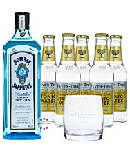 Bombay Sapphire Gin (40 % Vol., 0,7 L) & 5x Fever-Tree Tonic Water 0,2 L inkl. 0,75 € Pfand + 1 Glas