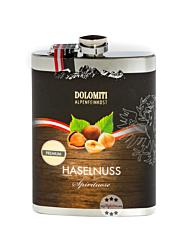 Dolomiti: Flachmann Haselnuss Schnaps / 35 % Vol. / 0,2 Liter-Flasche aus Edelstahl