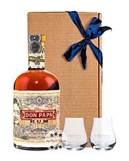 Geschenkset Don Papa Rum 40 % vol. 0,7 l & 2 Nosing-Gläser in Geschenk-Schachtel