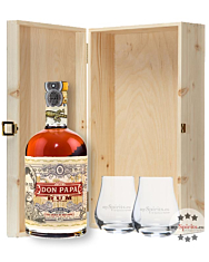 Geschenkbox Don Papa Rum (40 % Vol. / 0,7 l) mit zwei Nosing-Gläsern in Holzschatulle