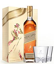 Johnnie Walker Gold Label Geschenkset / 40 % Vol. / 0,7 Liter-Flasche + 2 Johnnie Walker-Gläser
