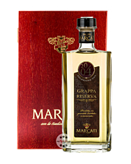 Marcati Grappa Riserva Jahrgang 2004 / 40 % Vol. / 0,5 Liter-Flasche in Holzkiste
