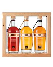 Marzadro Set Confezione Espressioni / 42 & 43 & 46 % Vol. / 3 x 0,35 Liter-Flaschen in Holzrahmen