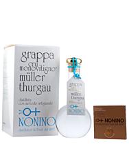 Grappa Nonino: Cru Müller Thurgau Grappa Monovitigno / 45 % vol. / 0,5 Liter-Flasche mundgeblasen im Geschenk-Karton