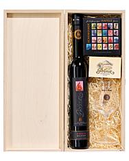 Prinz: Geschenk-Set Hafele Kiste - Kirsch Brand, Schokolade & Kelch / 43 % Vol. / 0,35 L Flasche