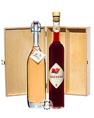 Prinz: Geschenk-Set Himbeer-Glück mit Wild-Himbeer Likör & Alte Wald-Himbeere / 16 % & 41 % Vol. / 2 x 0,5 Liter-Flasche in Holzbox