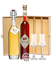 Prinz: Geschenk-Set Kirschen-Glück mit Wild-Kirsch Likör & Alte Kirsche / 16 & 41 % Vol. / 2 x 0,5 Liter-Flasche & 2 x Prinz Schnapskelch in Holzbox