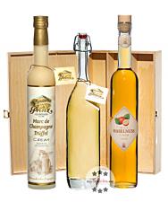 Prinz: Geschenk-Set Naschkatze mit Marc de Champagne Trüffel, Wild-Haselnuss & Alte Haselnuss / 15 - 41 % Vol. / 3 x 0,5 Liter-Flasche in Holzbox