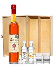 Prinz: Geschenk-Set Wanderfreund mit Zirberla, Enzian & Obstler / 30 & 40 % Vol. / 1 x 0,5 Liter-Flasche + 2 x 0,04 Liter-Miniatur + 2 x Prinz Stamperl m. Logo in Weiß