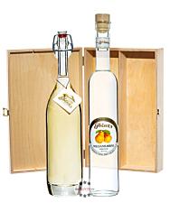 Prinz: Geschenk-Set Williams-Glück mit Alte Williamsbirne & Williams-Birnen-Schnaps / 40 & 41 % Vol. / 2 x 0,5 Liter-Flasche in Holzbox