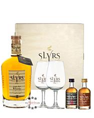 Slyrs Geschenkset: Bavarian Single Malt Whisky (43 % vol. / 0,7 L) + Whisky Fifty One (51 % Vol. / 0,05 L) + Liqueur Vanilla & Honey (30 % Vol. / 0,05 L) mit 2 Slyrs Gläsern in Slyrs-Holzbox