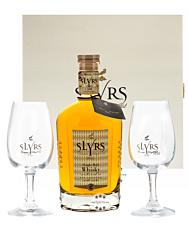 Slyrs Whisky: Geschenkbox Kerpalt mit Slyrs Bavarian Single Malt Whisky und 2 Slyrs Gläsern
