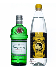 Geschenkset Tanqueray London Dry Gin & Thomas Henry Tonic Water / 47,3 % vol. / 0,7 & 1,0 Liter-Flasche