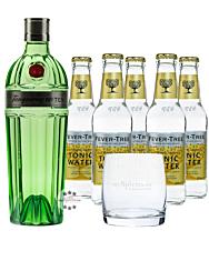 Tanqueray No. 10 Gin (47,3 % Vol., 0,7 L) & 5 x Fever-Tree Tonic (0,2 L) inkl. 0,75 € Pfand + 1 Glas