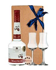 Unterthurner Geschenk-Set Waldler original Waldhimbeerschnaps mit 2 Kelch-Gläsern / 39 % vol. / 0,7 l in Geschenk-Schachtel