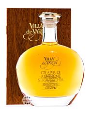 Villa de Varda Grappa Amarone Stravecchia Alta Selezione – Premium-Grappa / 40 % / 0,7 Liter-Flasche in Kästchen aus Mahagoniholz