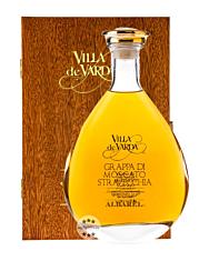 Villa de Varda Grappa Moscato Stravecchia-Albarel Alta Selezione aus dem Barrique / 40 % Vol. / 0,7 Liter-Flasche in Mahagoniholz-Schatulle