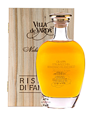 Villa de Varda Grappa Stravecchia Bisnonno Francesco Alta Selezione / 40% Vol. / 0,7 Liter-Flasche in Kästchen aus Weidenholz