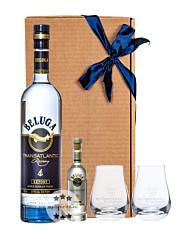Vodka Geschenkset: Beluga Transatlantic Vodka (40 % Vol. / 0,7 L) + Beluga Noble Russian Vodka Miniatur (40 % Vol. / 0,05 L) + 2 kleine mySpirits Nosing-Gläser in Geschenkbox