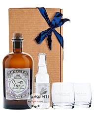 Geschenk-Set: Monkey 47 Dry Gin (47 % Vol. / 0,5 L ) & 1 x Gents Tonic (0,2 L) inkl. 0,15€ Pfand + 2 x Tumbler