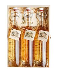 Prinz Geschenk Set Altes Trio - Prinz Alte Sorten (Williams, Marille & Wald-Himbeere) / 41 % vol. / 3*0,2 Liter Flasche in Holzkiste