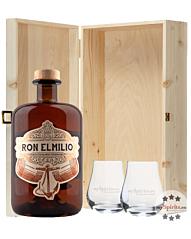 Ron Elmilio Rum-Geschenkset mit 2 Nosing-Gläsern in Holzkiste / 40 % Vol. / 0,7 L + 2 x Nosing-Glas